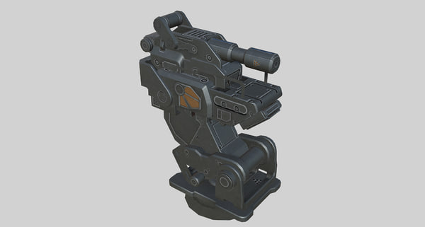 gameready sci-fi turret animation 3D model