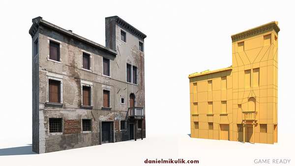 3D old building facade model