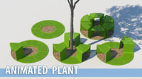 park bench tree animation model