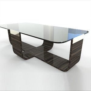 bezel cocktail table wood 3D model