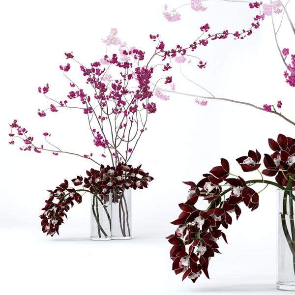realistic cymbidium cherry branches 3D model