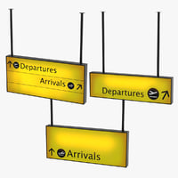 3D airport arrival departure signs