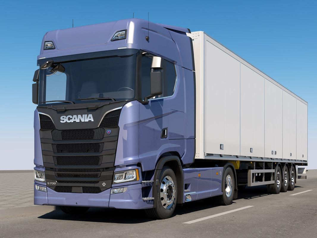 3D model scania s 730 trailer