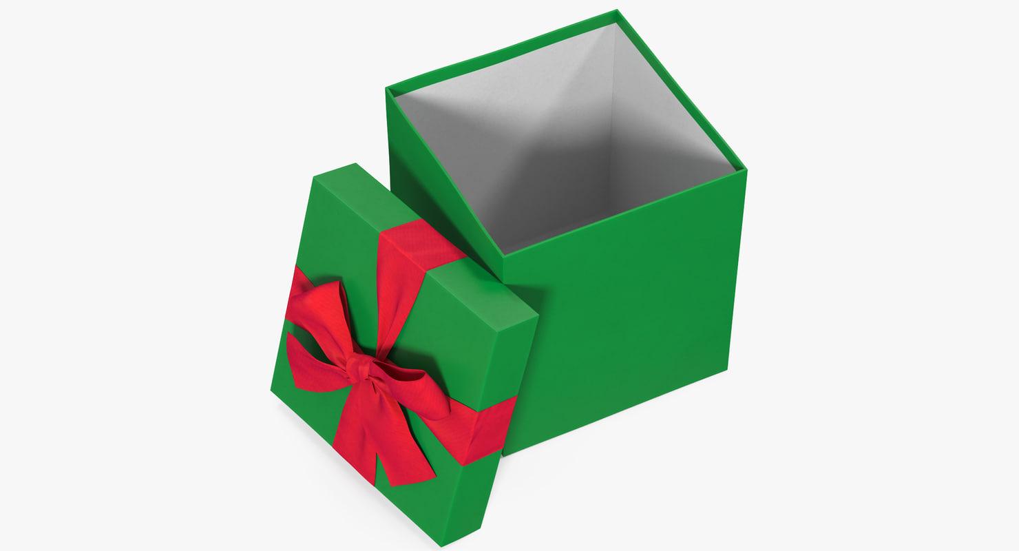 gift box open green 3D model
