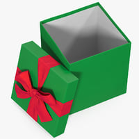 gift box open green 3D model