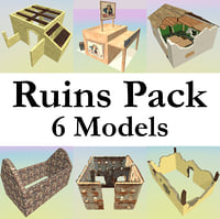 3D ruined building pack 6
