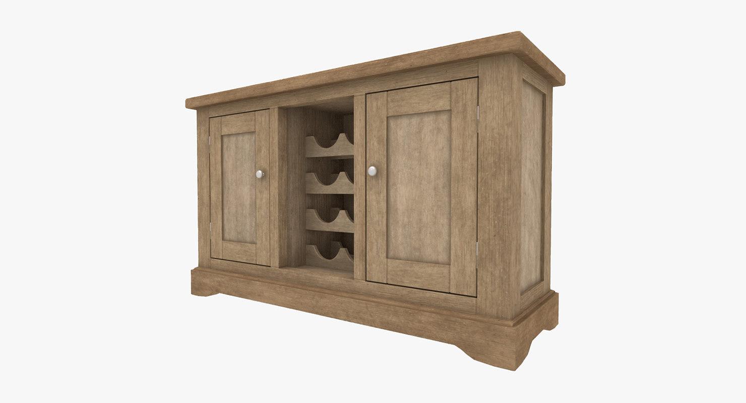 wood sideboard 3D model