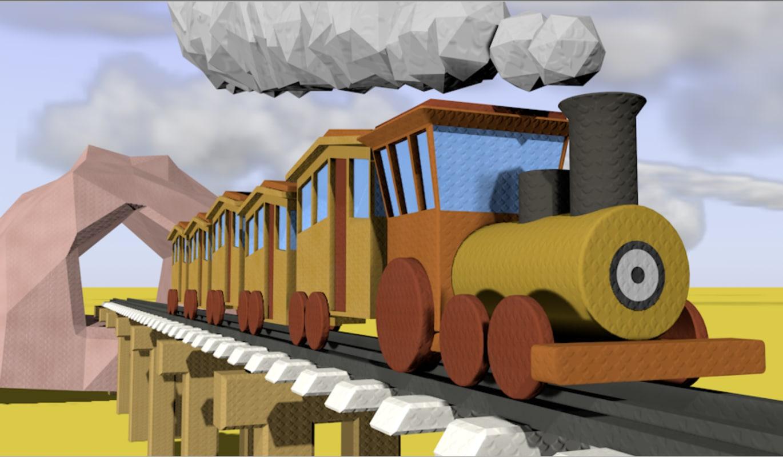 3D model cartoon train