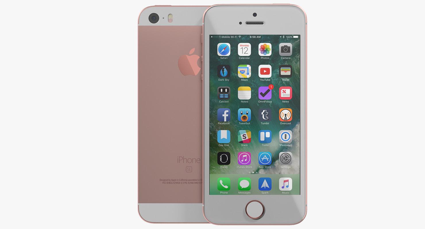 iphone se rose gold 3D model