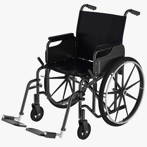 3D black wheelchair