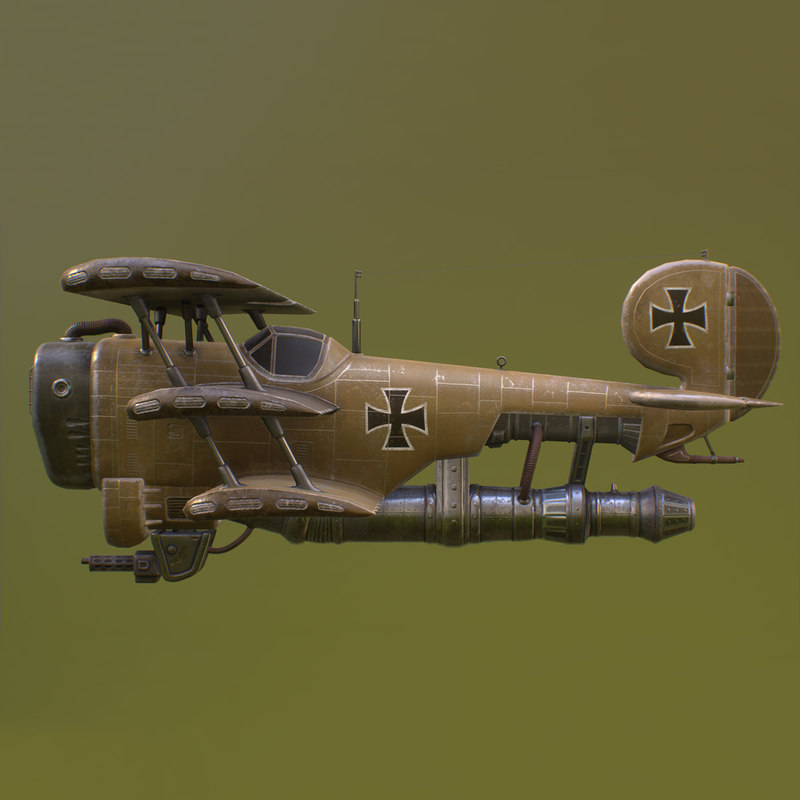 Steampunk airplane lowpoly UE4 Unity military aircraft warplane old retro  WWI gun