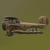 3D model steampunk airplane military aircraft