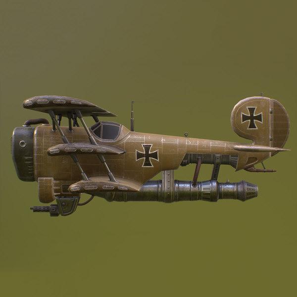 3D model steampunk airplane military aircraft