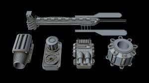 3D starship greeble 2 model
