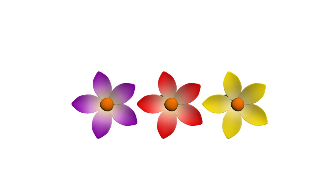 3D model flowers yellow red