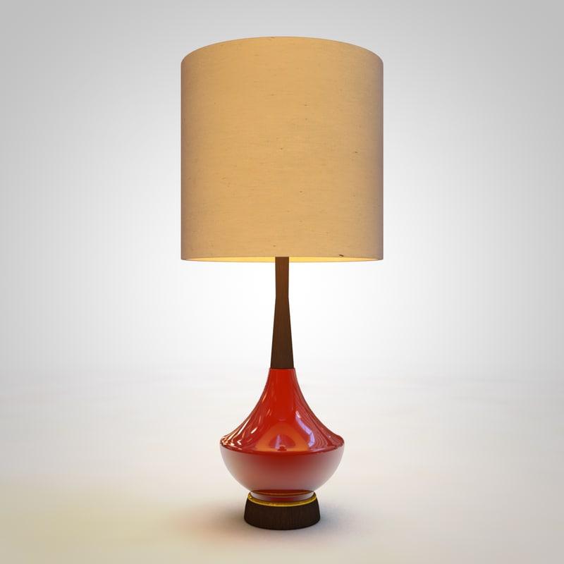 3D red modern lamp model