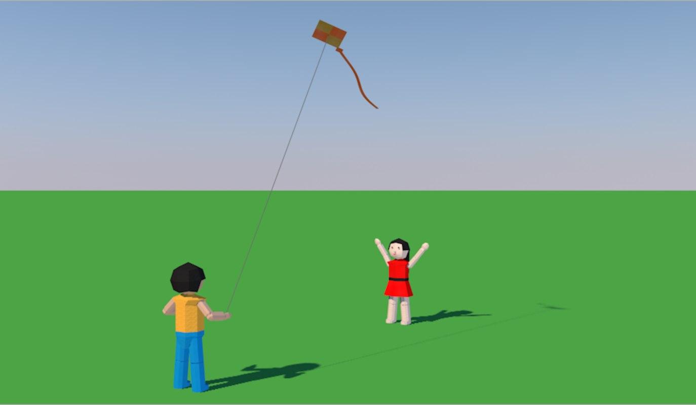 3D model kids kite origami
