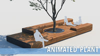 street bench and tree wind animation