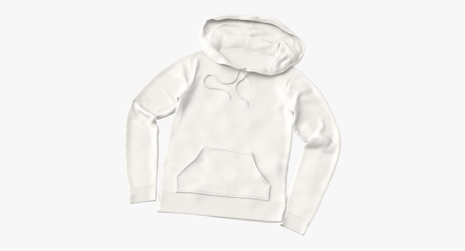 3D female fitted hoodie laid