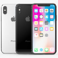 3D apple iphone x silver model