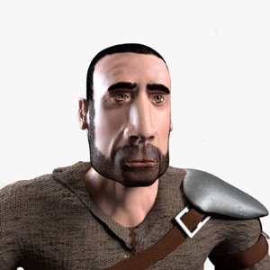 3D model man medieval armor