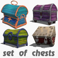 Collection of chests antique stylized lowpoly cartoonish realistic