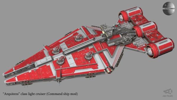 3D light cruiser ship