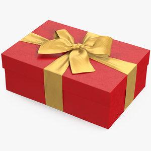 3D gift box red 4 model