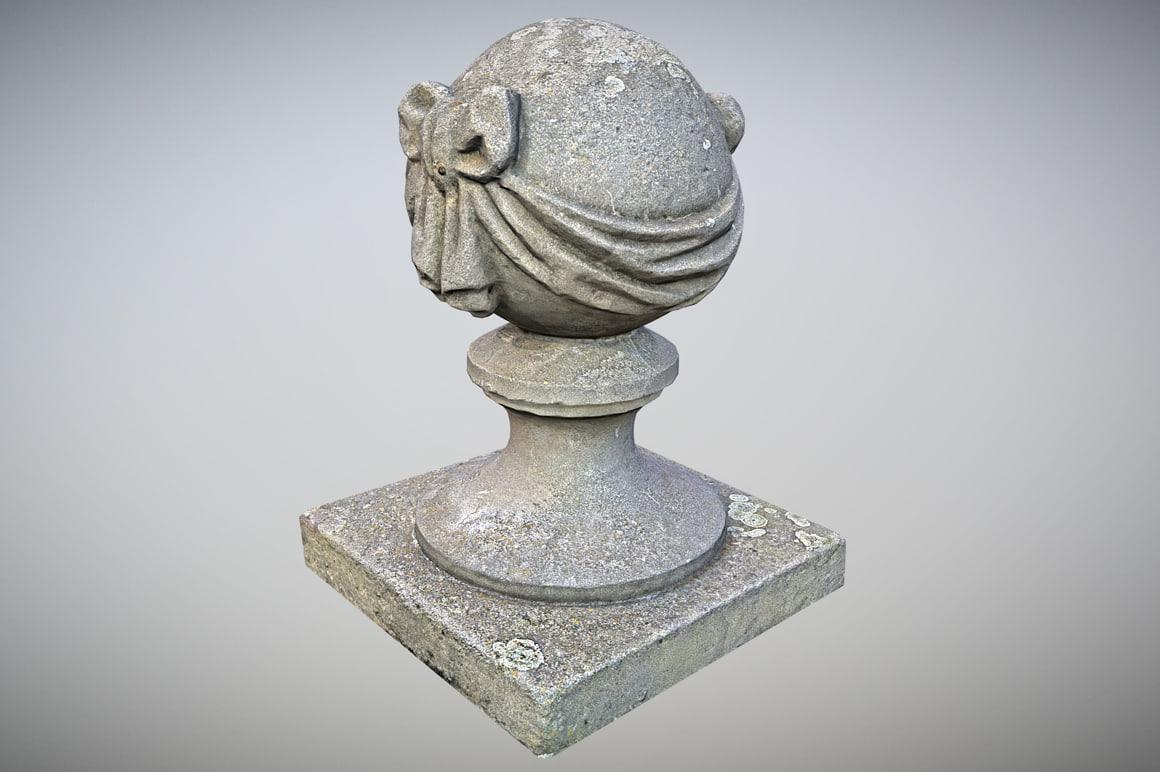 3D stone ball pillar