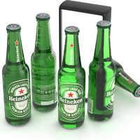 beer bottle heineken 330ml 3D model