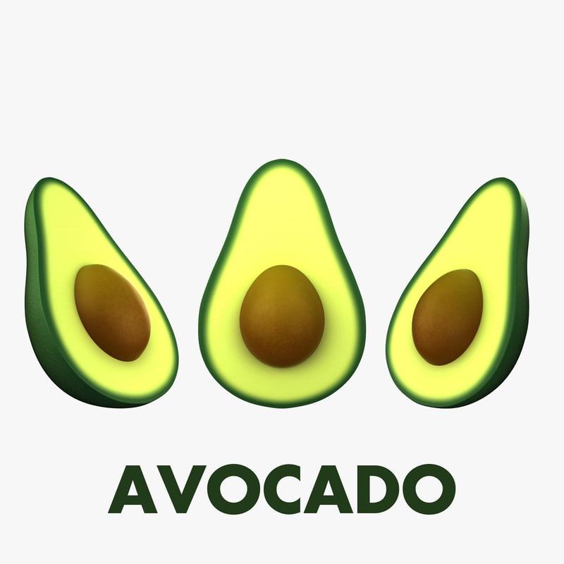 3D cartoon avocado