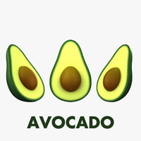 3D cartoon avocado