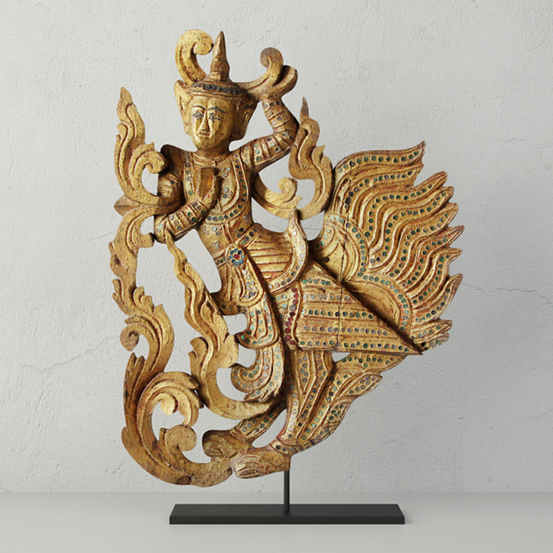 burmese carved angel fragment 3D model
