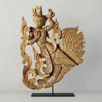 burmese carved angel fragment 3D model
