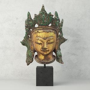 cast iron kwan yin 3D model