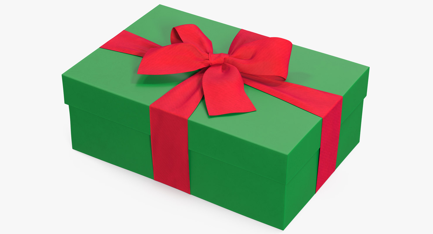 3D gift box green 4 model