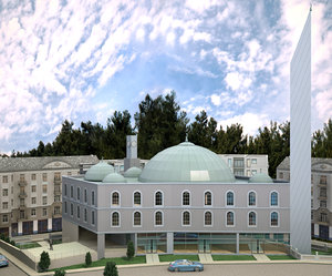 3D modern mosque building