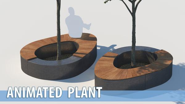 3D street park bench tree model