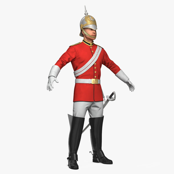 3D model queens royal soldier lifeguards