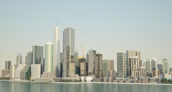 3D big city scene