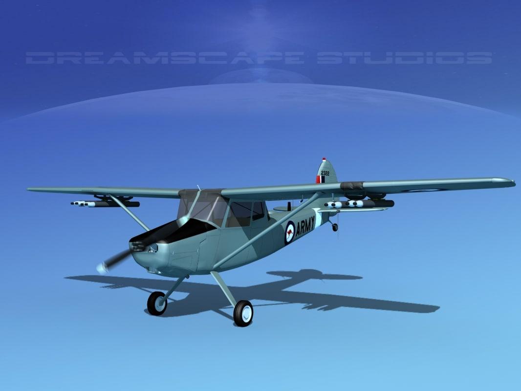 3D propeller cessna o-1e bird dog