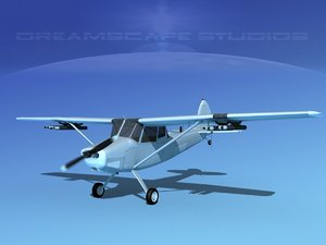 propeller cessna o-1e bird dog 3D model