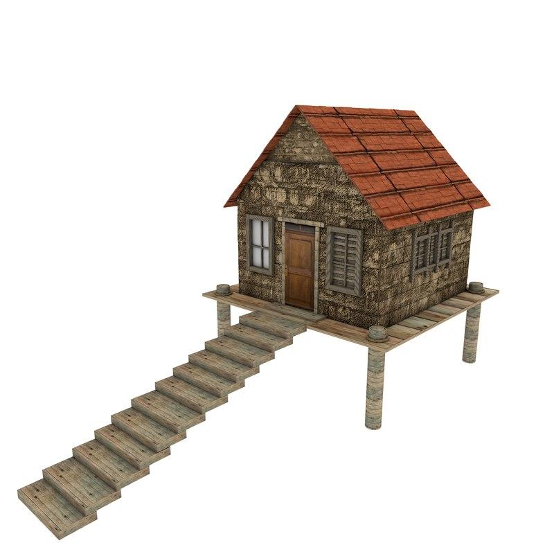 platform small wooden house 3D model