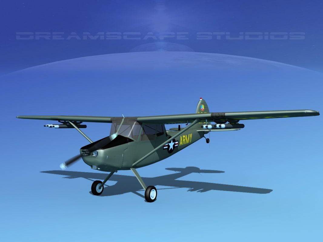 3D propeller cessna o-1e bird dog model