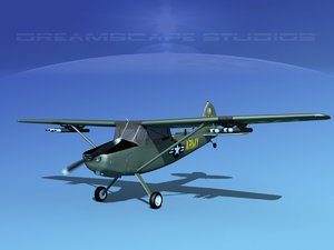 3D propeller cessna o-1e bird dog model