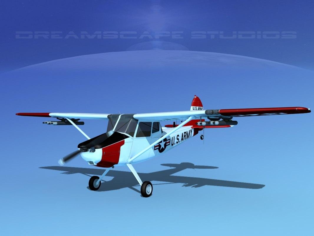 propeller cessna o-1e bird dog 3D model