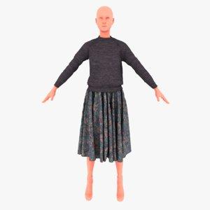 3D raglan skirt model