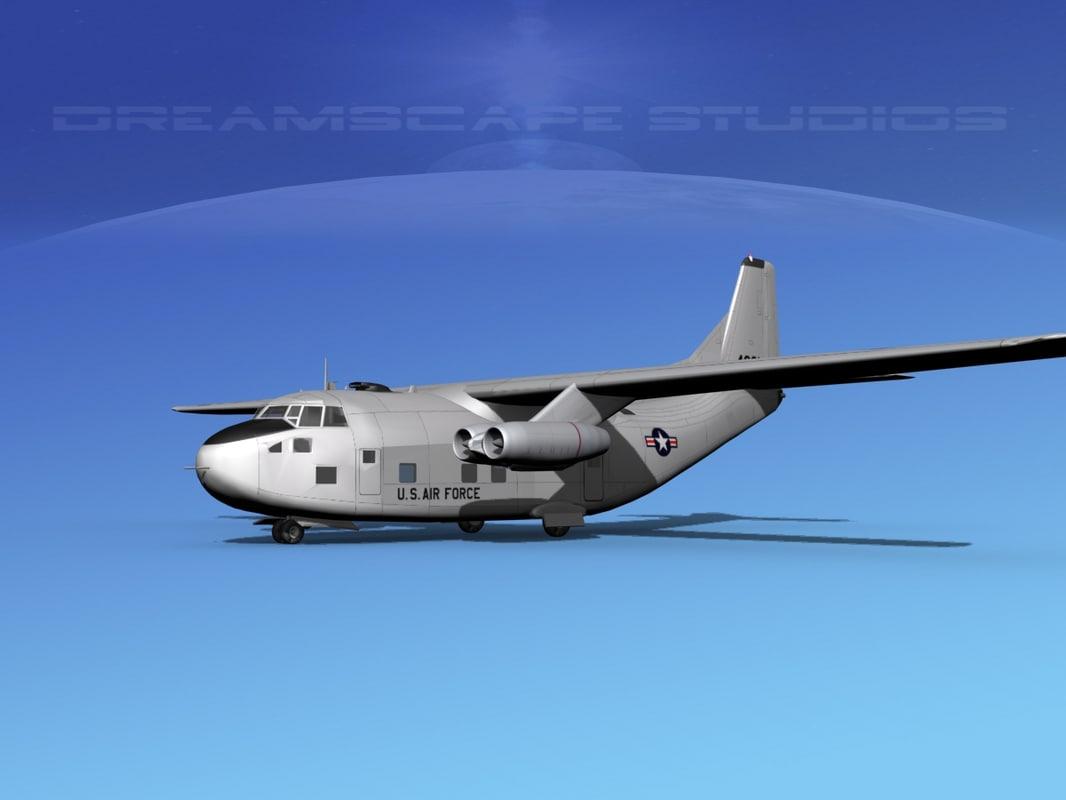 3D aircraft military fairchild c-123a