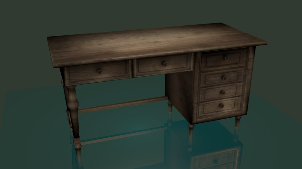 old wooden table 3D
