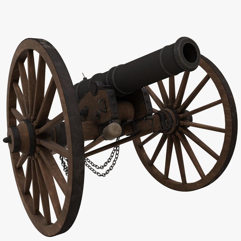 3D 6 pound field cannon model